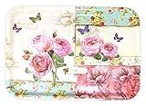 Lashuma Melamintablett Serviertablett eckig | Motiv: England Rosen | 45 x 31 cm