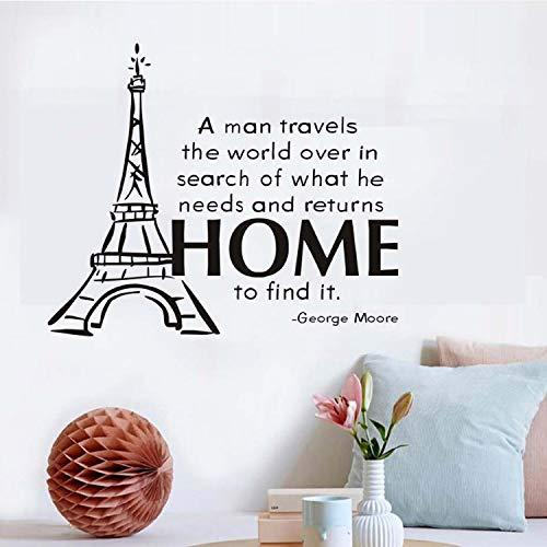 xmydeshoop A Man Travels The World Wall Sticker Famous Motto Eiffel Tower Wallpaper Vinyl for Kids Rooms DIY Home Sticker Decoration (Eiffel Tower Schneiden)