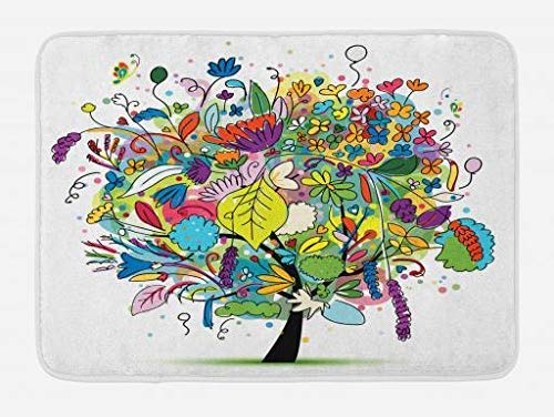 c36bb2f78 MSGDF Tree Bath Mat, Hand Drawn Style Colorful Tree with Flowers Leaves and  Herbs Lively Nature Themed Art, Plush Bathroom Decor Mat with Non Slip ...