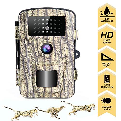 "LongOu Wildkamera Jagdkamera 1080P 12MP IP66 Nachtsichtkamera Wildkamera mit Bewegungsmelder Nachtsicht aktiviert IR-LEDs und 2,31\""LCD Display überwachungskamera"