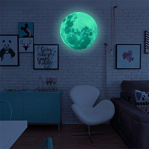Zegeey 40cm 3D großer Mond Fluoreszierende Wandaufkleber abnehmbare im Dunkeln leuchten Aufkleber Wohnkultur