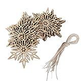 Pixnor Ornament in Schneeflockenform, Holz, verzierter Anhänger mit Schnur, 10 Stück