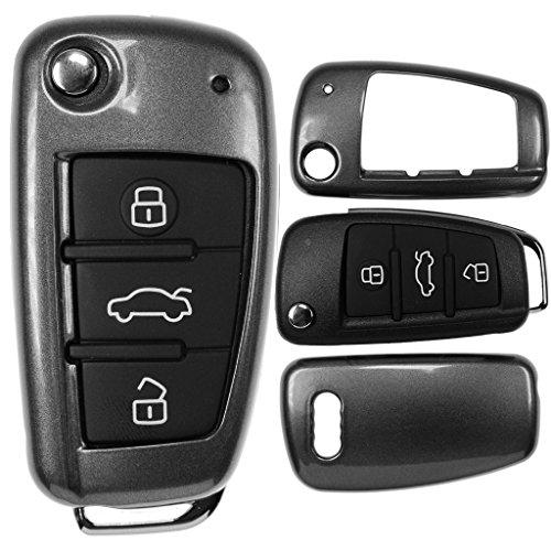 Klapp Schlüssel Cover Hülle für Audi A1 8X S1 A3 8P S3 A6 4F S6 Q7 / Farbe: Metallic Grau