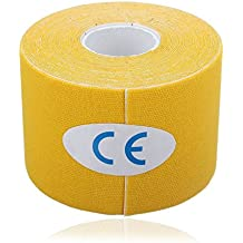 Kinesiology Tape, Sports Tape Terapéutica (5m x 5cm) para Codo de Hombro de Rodilla Tobillo Back & Neck - Cinta de Musculación Impermeable Reduce la Fatiga y Lesión 1 Rollo (Yellow)