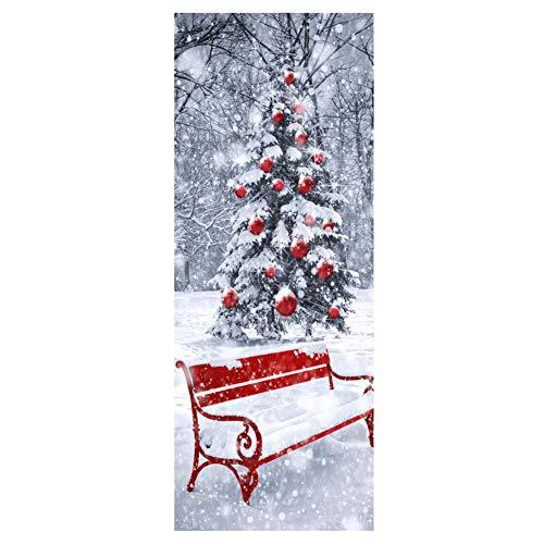 HEDDK Türposter Selbstklebend Türaufkleber Wandbilder 3D Wasserdichte Weihnachtsbaum Schnee Glas Fenster Holztür Abnehmbare Selbstklebende Foto Poster Tapete Für Büro Schlafzimmer, 77 * 200 cm