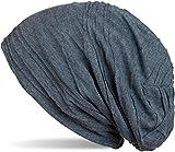 styleBREAKER klassische Beanie Mütze mit Falten Muster, Longbeanie, Unisex 04024053, Farbe:Jeansblau (One Size)