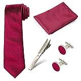 Beelittle Ensemble de cravate Men 's Cravate Poche Carré Handchief Boutons de Manchette Pince à cravate Coffret Cadeau pour les fêtes de mariage et les occasions formelles (C)