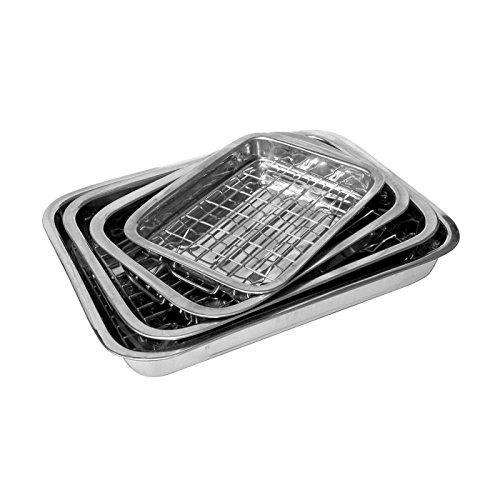 Lasagne-Pfanne mit Grillrost, aus Edelstahl, 4-teiliges Grillschalen-Set, Bräter-Set