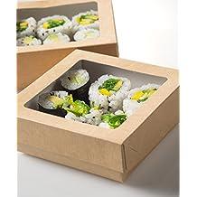 Envase cartón kraft con tapa con ventana transparente 500 ml - Pack