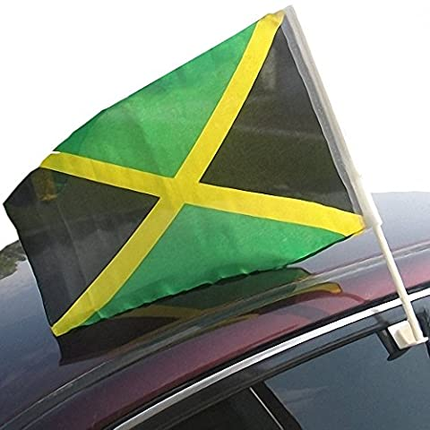 Jamaica Car Flag with Vehicle Attachment for Window