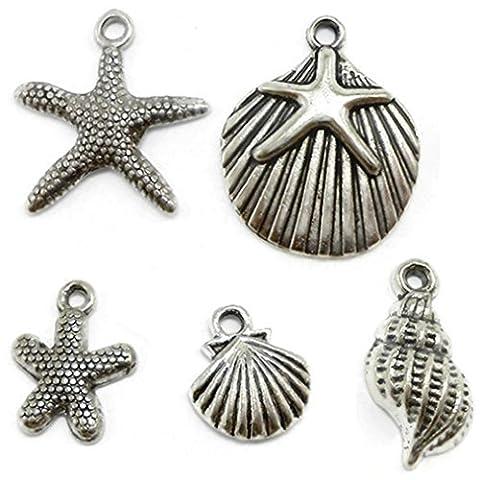 Zhichengbosi 30 Starfish, Seashell Charms Lot silver tone Jewelry Making beads (30 PCS)
