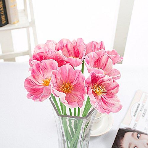 junlong 100Mohn Künstliche Fake Blumen, real touch Mohn Blume für Hochzeit Bouquet Dekorieren, 10Köpfe Strauß für Hochzeit Party Home Wohnzimmer Garten Decor rose
