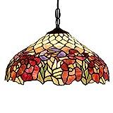 Tiffany Stil Pendelleuchte Europäische Kreative 16-Zoll-Glasmalerei/Clematis Design Hängende Deckenleuchte, Wohnzimmer Schlafzimmer Restaurant Bar Kronleuchter, E27, Max60W