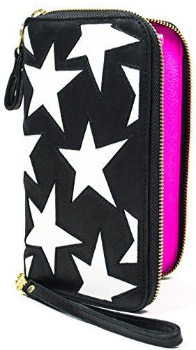 Dancing Star Purse in Black Bull, unterlegte Sterne in Weiss, innen bright Pink Portemonnaie, Geldbörse, Damen, Echt Leder (Stella Echte Zubehör)