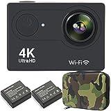 GreatCool Action Cam 4K Wifi Camera Waterproof Fotocamera Telecamere 25fps Hd 2 Pollici LCD due 1050mAh Batterie e Kit Accessori con Pacchetto Portatile
