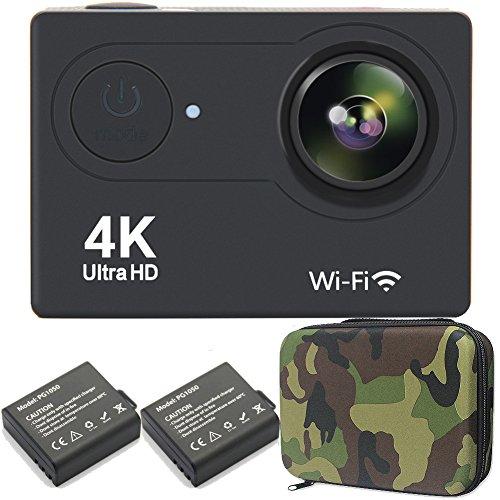 GreatCool Action Cam 4K Wifi Camera Kamera Helmkamera Wasserdicht 25FPS mit 2 Verbesserten Batterien und kostenlose Accessoires