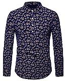 WHATLEES Herren Paisley Langarm Hemden - mit Stehkragen und durchgehendem Print BA0071-navy-M