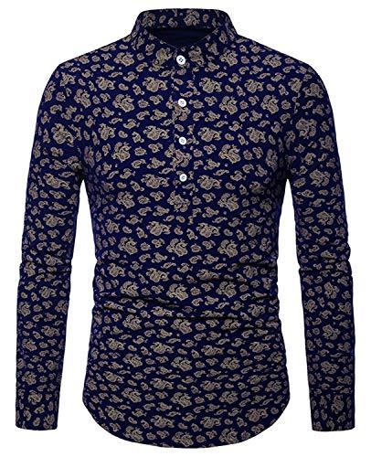 WHATLEES Herren Paisley Langarm Hemden - mit Stehkragen und durchgehendem Print BA0071-navy-S