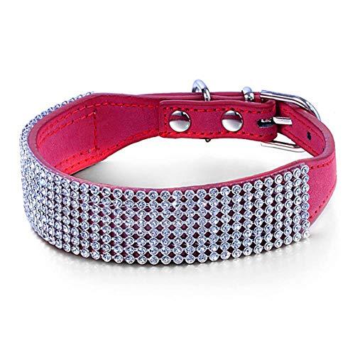 QINGLV Dog Collar Collari per Cani Bling Rhinestone Pet Dog Collar Design Crystal Diamond Collare in Pelle per Cane Medio Piccolo Pitbull Whippet Boxer, Rosso, M