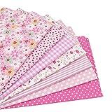 7 Stück 49cm * 49cm Rosa Baumwollstoff,patchwork stoffe,baumwollstoff meterware,stoffe patchwork stoffpaket
