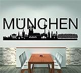 Skyline München (120 cm Breite, schwarz), Wandtattoo, Wandaufkleber, Wohnzimmer, Dekoration, Wanddekoration + GRATIS-Zugabe!!!