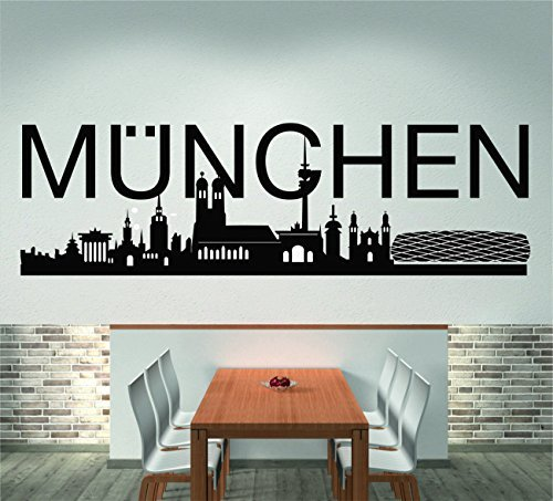 Orizzonte Di Munich (120 larghezza cm, nero), Adesivo murale, Adesivo da muro, Soggiorno, Decorazione, Decorazione parete + Encore GRATIS