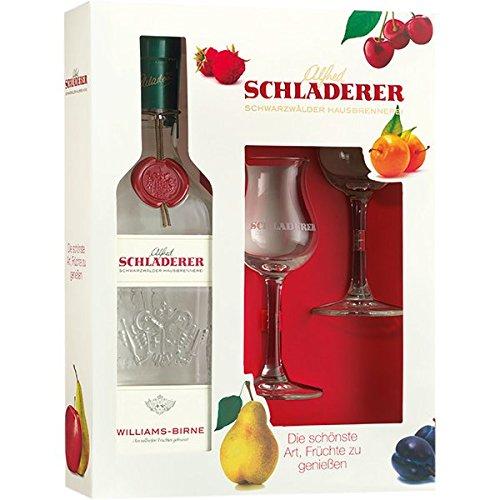 Schladerer Williams-Birne (1 x 0.7 l) Geschenkpackung mit 2 original Schladerer Gläsern