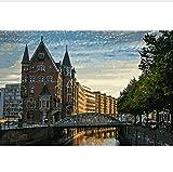 zhangshifa Hamburg City View Landschaftsmalerei Färbung Nach Zahlen Digital Handgemalte Leinwand Gemälde Für Wohnkultur 40X50CM