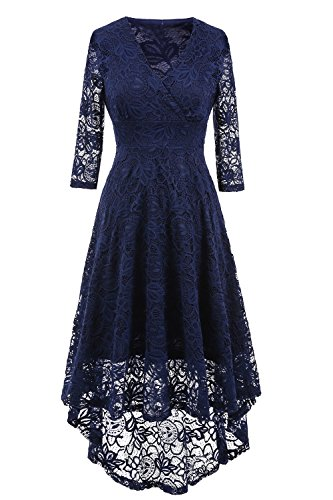 NALATI Women Vintage Solid Color 3/4 Sleeve Deep V Neck High Waist High-low Hip Lace Party Cocktail Dress (2XL, Navy Blue)