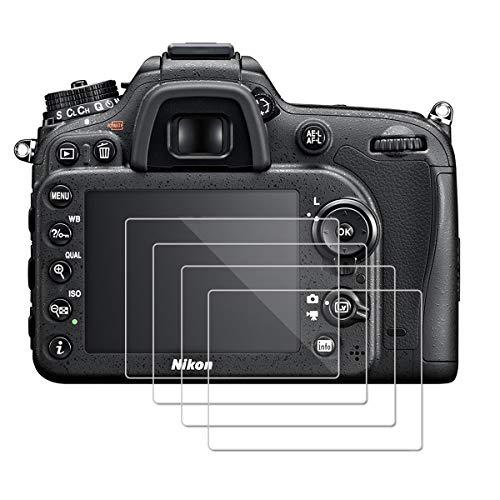 (Pacco da 4) Proteggi Schermo per Nikon D7100 D7200 D800 D800e D810 D750 D610 D600 D500, OOTSR Protezione in Vetro Temperato [Piena Copertura] [Bubble-libero] [Installazione Facile]