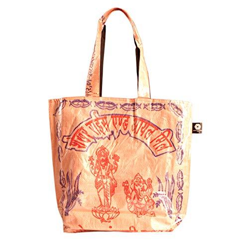 Shakti Milan Henkeltasche Pink Ganesha Elefant Handtasche Upcycled Tasche recycled Reissack Shopping bag Einkauf Schulter Schul Umhängetasche Totebag Clutch Canvas