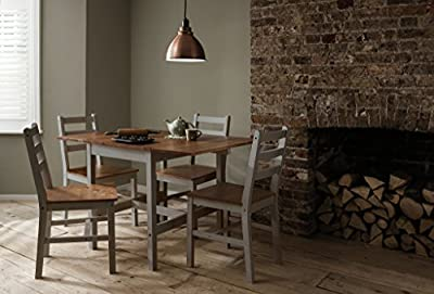 Dropleaf Dining Table with Chairs Kitchen Spacesaving Annika Noa & Nani (Silk Grey & Natural Pine) - cheap UK light store.