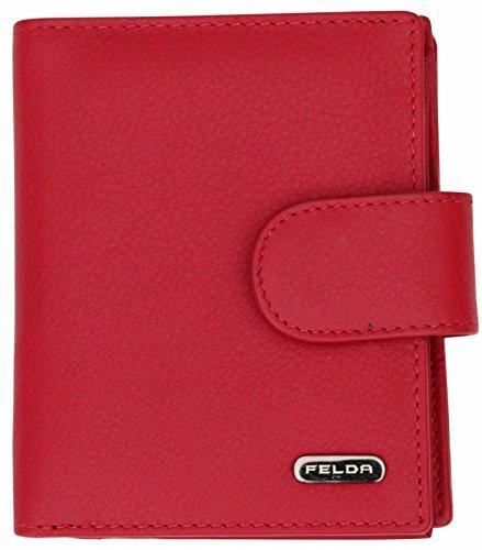 Felda - Damen Geldbörse aus weichem Echtleder - Münz- & Kartenfächer & RFID-Schutz - in Geschenkschachtel - Rot