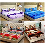 RAMPART Home Furnishing Floral 3D Print 4 Double Bedsheet with 8 Pillow Covers - Pack of 4 (Multicolour)