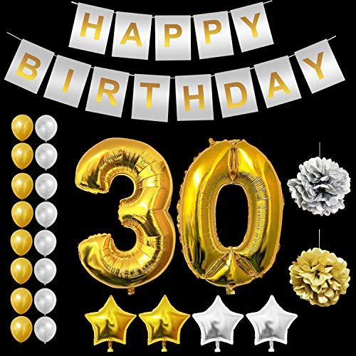BELLE VOUS 30 Geburtstag Dekorationen Set - Gold 30 Anzahl Luftballons, Gold & Silber Latexballons, Sterne Folienballons, Happy Birthday Banner, Pompoms für 30 Jahre alt Geburtstag Dekoration (Für Ihn 30. Geburtstag-dekorationen)