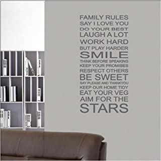 ABK Wall Art Wall Sticker Family Rules LIst Vinyl Home Art Decal - Dark Grey - Matt