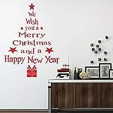 Window Sticker, Xinantime Christmas Tree Letters Stick Wall Art Decal Mural Wall Sticke (58cmX77cm, Red) Bild 2