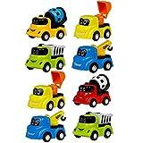 Mini Auto Spielzeug Baustellenfahrzeuge Klein Baufahrzeuge Kinderspiele Fahrzeuge Spielautos für Kinder ab 3 Jahre, 8 Pcs