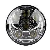 KIMISS 5-3/4 5.75'Faro LED rotondo Moto 45W Faro proiettore faro per 883-Black(argento)