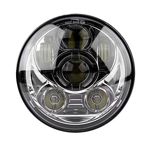 """KIMISS 5-3/4 5.75\""""Faro LED rotondo Moto 45W Faro proiettore faro per 883-Black(argento)"""