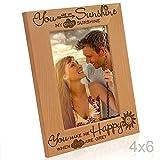 Kate Posh You Are My Sunshine, My Only Sunshine, You Make Me Happy, Wenn Himmel Sind Grau–Gravur Bilderrahmen aus Massivem Holz 4x6-Vertical Natural Real Wood