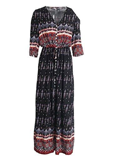 Minetom Femmes Eté Vintage Bohème Style Impression Col V Manches 3/4 Side Slip Maxi Robe Longue Plage Fête Long Dress Noir