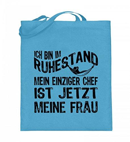 Hochwertiger Jutebeutel (mit langen Henkeln) - Ruhestand Chef Frau Hellblau
