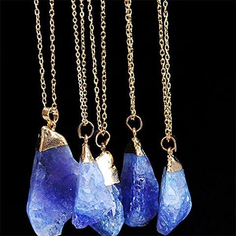 Chinget Natürliche Halsketten Unregelmäßige Form Amethyst Kristall Anhänger Quarz Halskette für Frauen Männer (Farbe 7)
