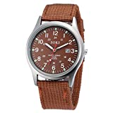 Clearance Sale! Military Army Men's Date Canvas Band Stainless Steel Sport Quartz Wrist Watch CO By YANG-YI