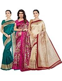 Oomph! Women's Art Silk Printed Sarees Combo - Multi_combo3_koyal_30pink16green22red