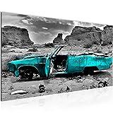 Bilder Auto Grand Canyon Wandbild 100 x 40 cm Vlies - Leinwand Bild XXL Format Wandbilder Wohnzimmer Wohnung Deko Kunstdrucke Türkis 1 Teilig -100% MADE IN GERMANY - Fertig zum Aufhängen 602212b