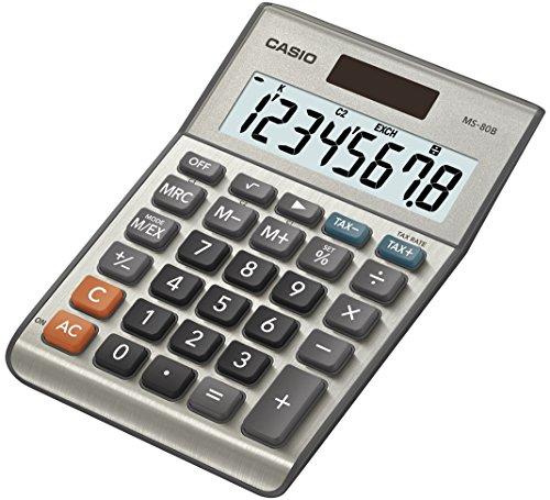 CASIO MS-80B Tischrechner kompakt mit Metallfront silber, 8-stelliges Display, Steuer-Berechnung, Währungs-Umrechnung, Quardatwurzel