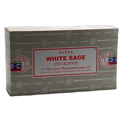 Satya nag champa, bastoncini di incenso alla salvia bianca, confezione da 12x 15grammi