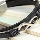 Flongo 2 Stück echtleder unendlichkeitszeichen armband groß